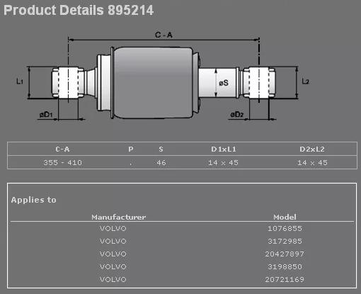 895214 Амортизатор кабины задн.(пневмо) Volvo FH12 16